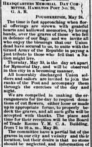 Newpaper clipping from 1878 titled Headquarters Memorial Committee