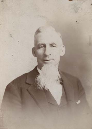 Portrait of man titled Armstrong with long white beard