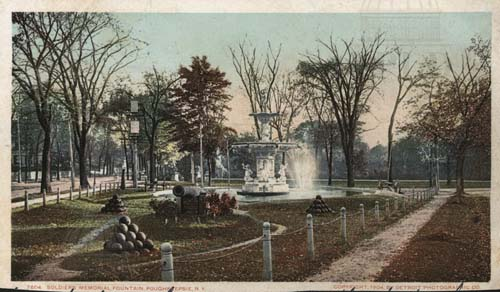 Vintage photo postcard of two tiered fountain, cannons and cannonballs in a memorial park in Poughkeepsie NY
