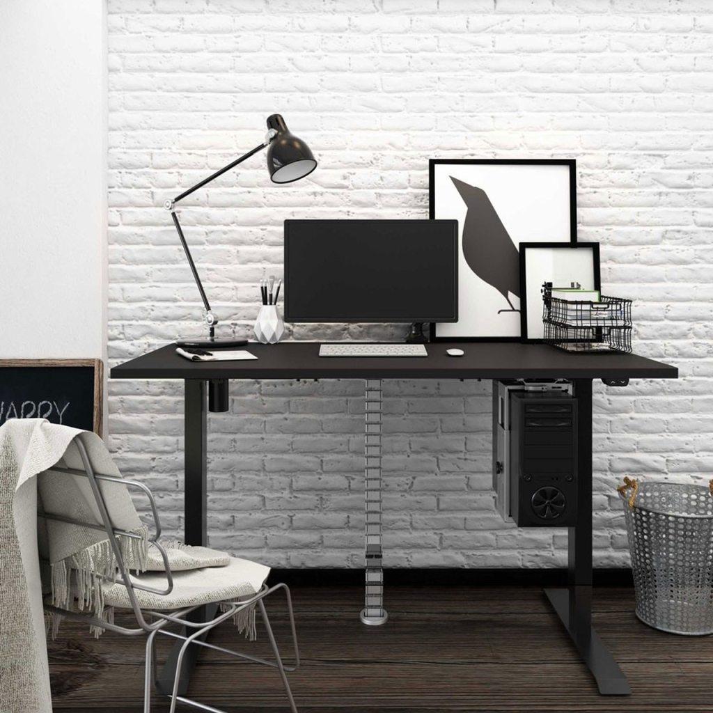Biurko czarne z elektrycznie regulowanÄ… wysokoÅ›ciÄ… do pracy przed komputerem na stojÄ…co i siedzÄ…co, Basic E100