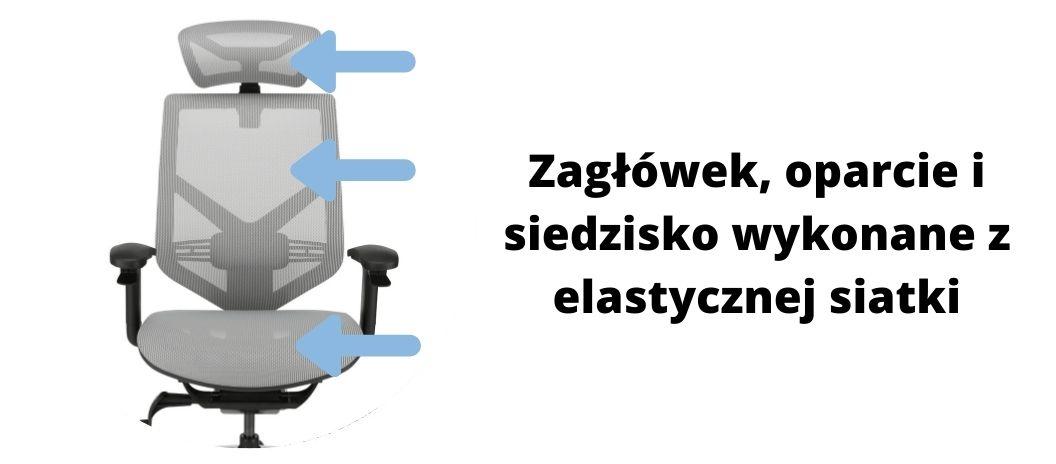 Wygodny fotel ergonomiczny biurowy Zhuo Insight, wykonanie z elastycznej siatki
