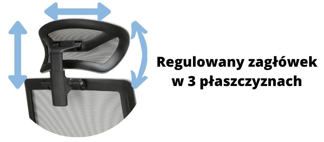 Wygodny fotel ergonomiczny biurowy Zhuo Insight, regulowany zagłówek