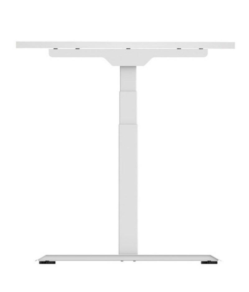 Regulowane biurko elektryczne stojące z podnoszonym blatem do pracy stojącej i siedzącej, Premium ZB-300 - białe bok