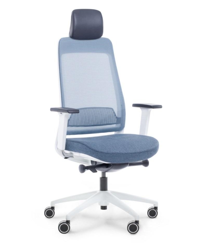 Fotel niebieski ergonomiczny biurowy Shine EFG 100W