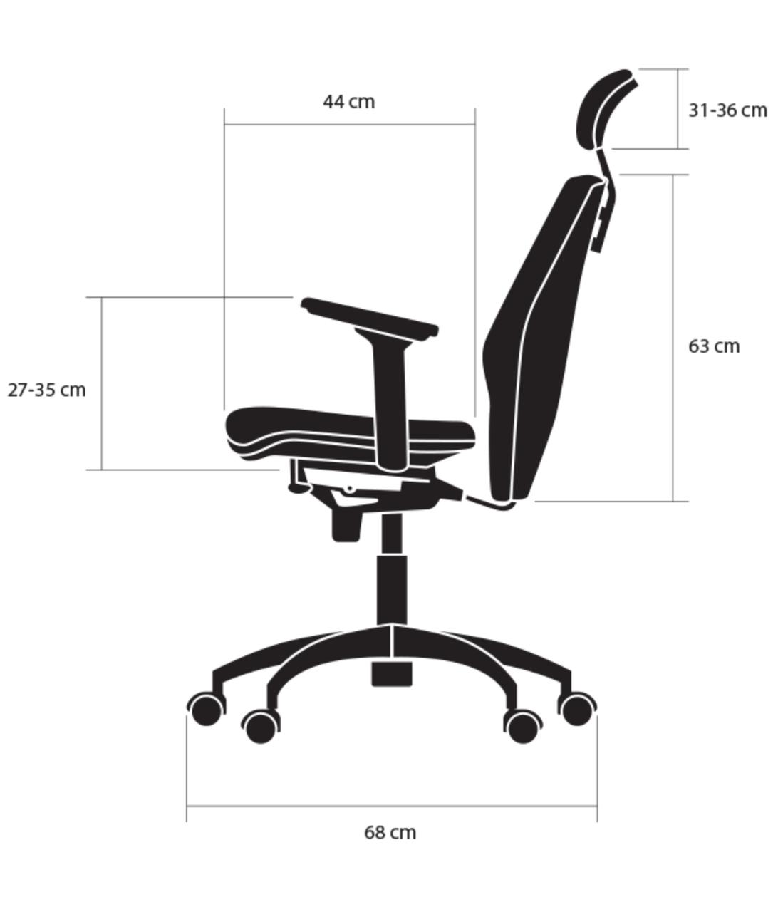 wymiary bok fotela ergonomicznego Elegance kulik system