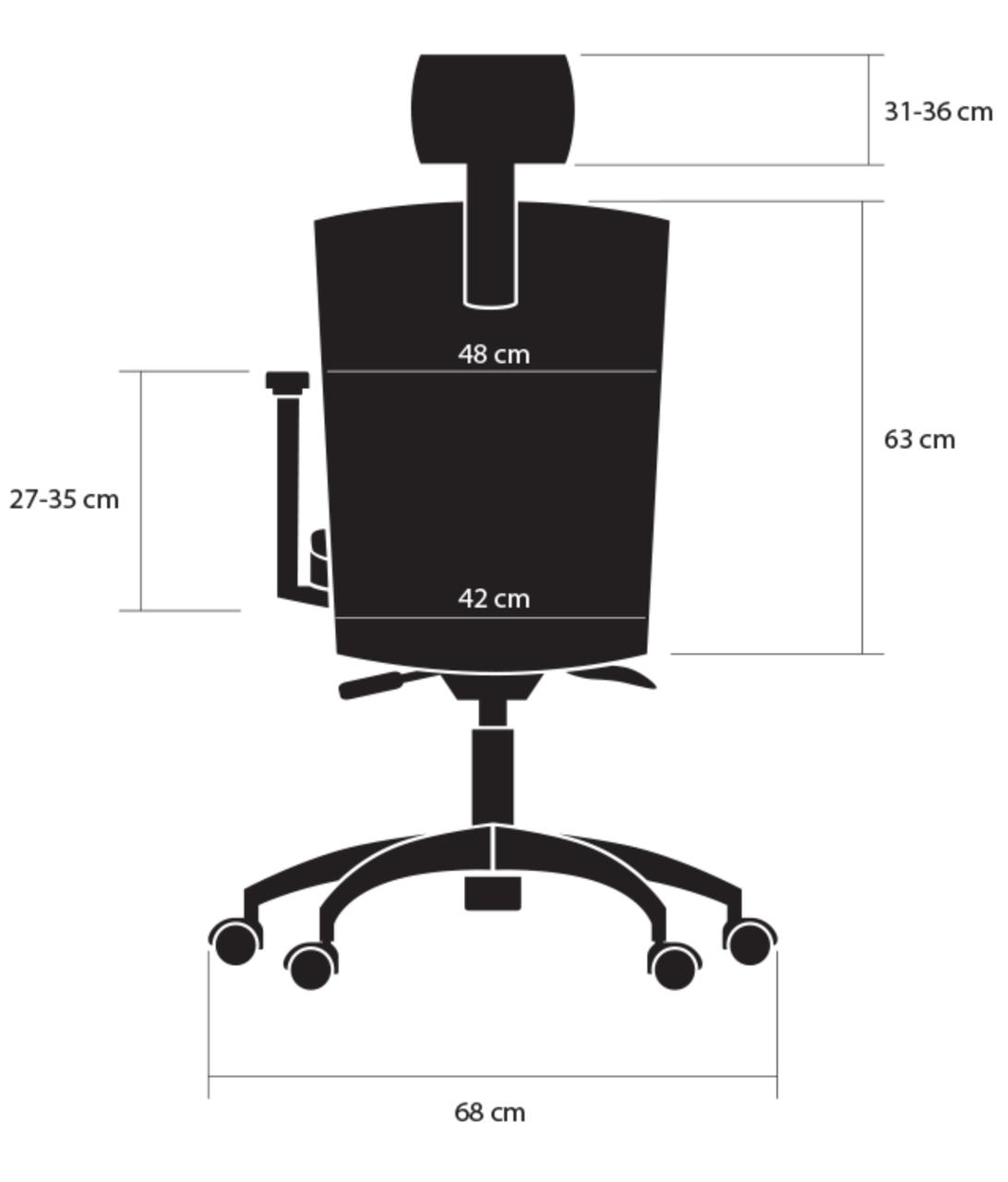 wymiary tył bok fotela ergonomicznego Elegance kulik system