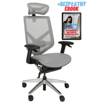 Wygodny fotel ergonomiczny biurowy Zhuo Insight szary