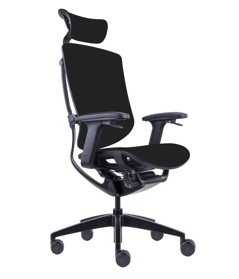 Fotel biurowy ergonomiczny Zhuo Maven - aluminium malowane proszkowo na czarno