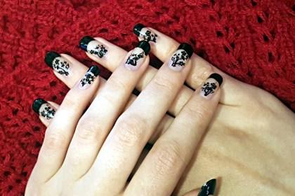 Polar Bear Style Black French Nails Black Cherry Blossom Decals China Glaze Top Base Coat