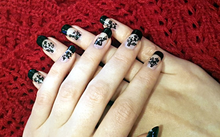 Polar Bear Style Black French Nails Black Cherry Blossom Decals China Glaze Top Base Coat