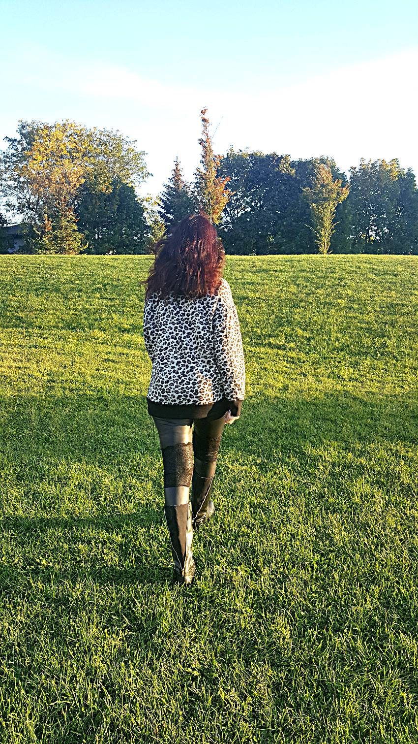 Polar Bear Style Leopard Print Hoody Black Leather Lace Leggings Black Boots