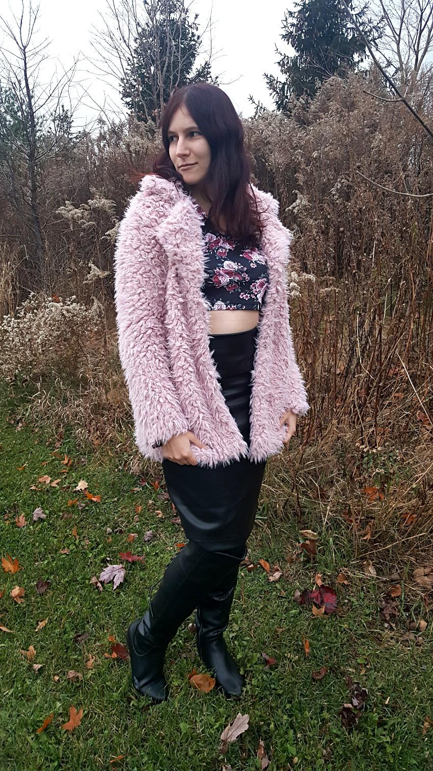 b86f5f0284 Polar Bear Style Pink Teddy Coat Black Leather Pencil Skirt Flared Sleeve  Crop Top Over-