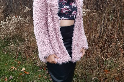 Polar Bear Style Pink Teddy Coat Black Leather Pencil Skirt Flared Sleeve Crop Top Over-the-Knee Boots