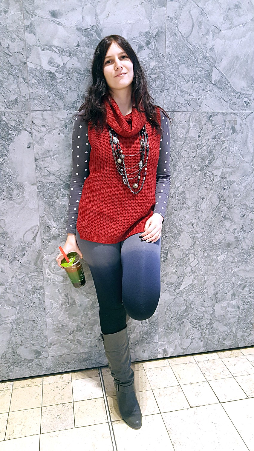 Polar Bear Style Red Sweater Tunic Grey Ombre Leggings Polka Dot Top Layered Necklaces Grey Boots