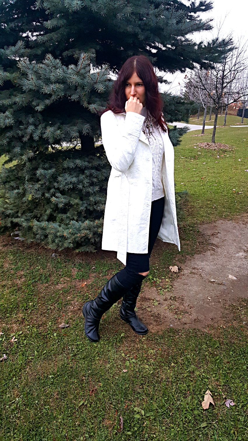 Polar Bear Style White Trench Coat White Cold Shoulder Knit Gold Floral Statement Necklace Black Boots