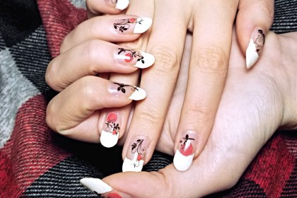 Polar Bear Style Black White Red Vines Roses White French Manicure China Glaze Top Base Coat