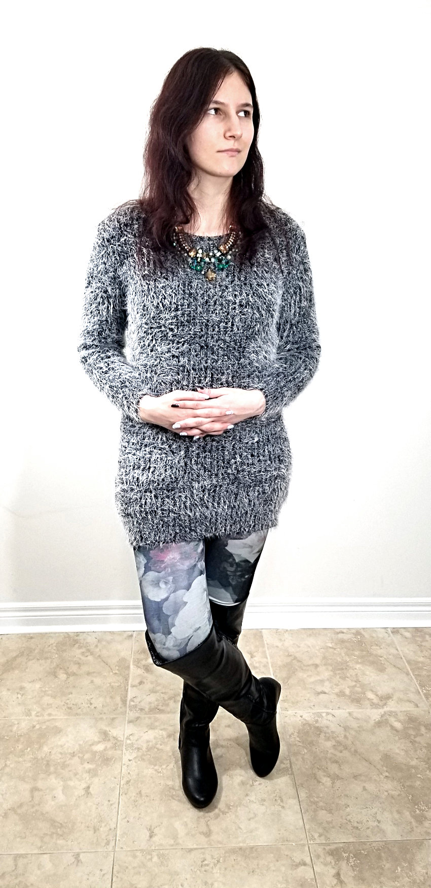 Polar Bear Style Fuzzy Grey Sweater Dress Floral Leggings Green Necklace Tall Black Boots