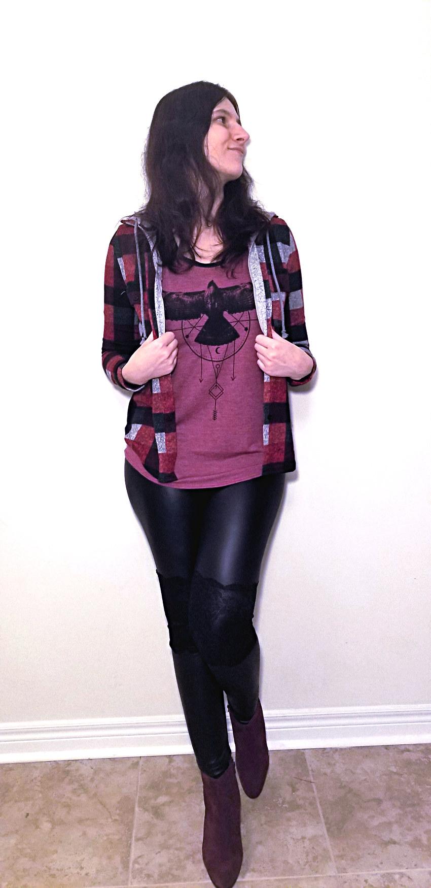 Polar Bear Style Hooded Plaid Shirt Black Leather Leggings Burgundy T-Shirt Burgundy Ankle Boots