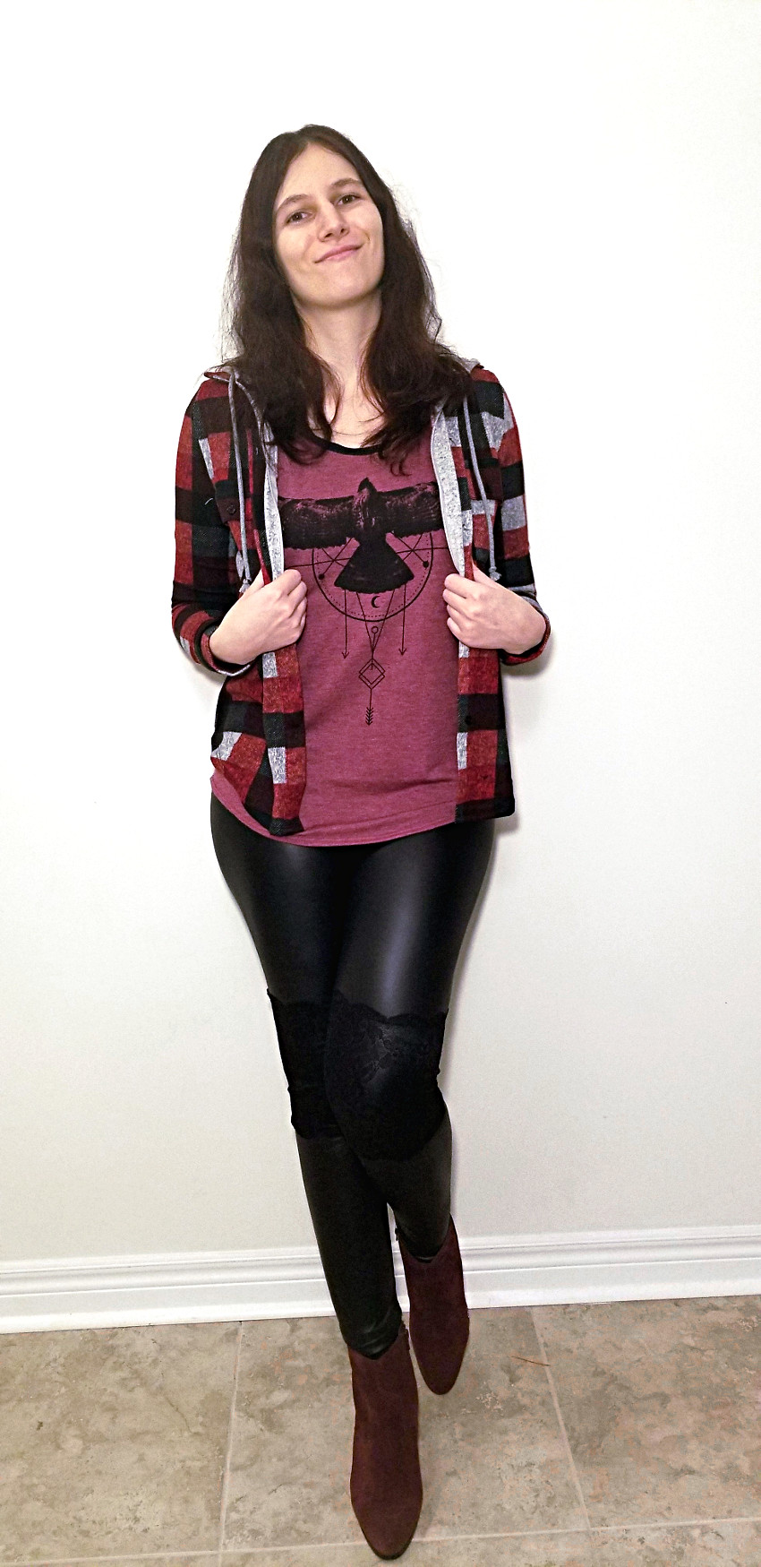 Polar Bear Style Hooded Plaid Shirt Black Leather Leggings Burgundy T-Shirt Burgundy Ankle Boots