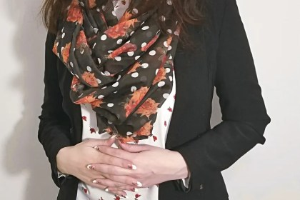 Polar Bear Style Roses White T-Shirt Polka Dot Floral Scarf Black Blazer Jeans Tall Black Boots