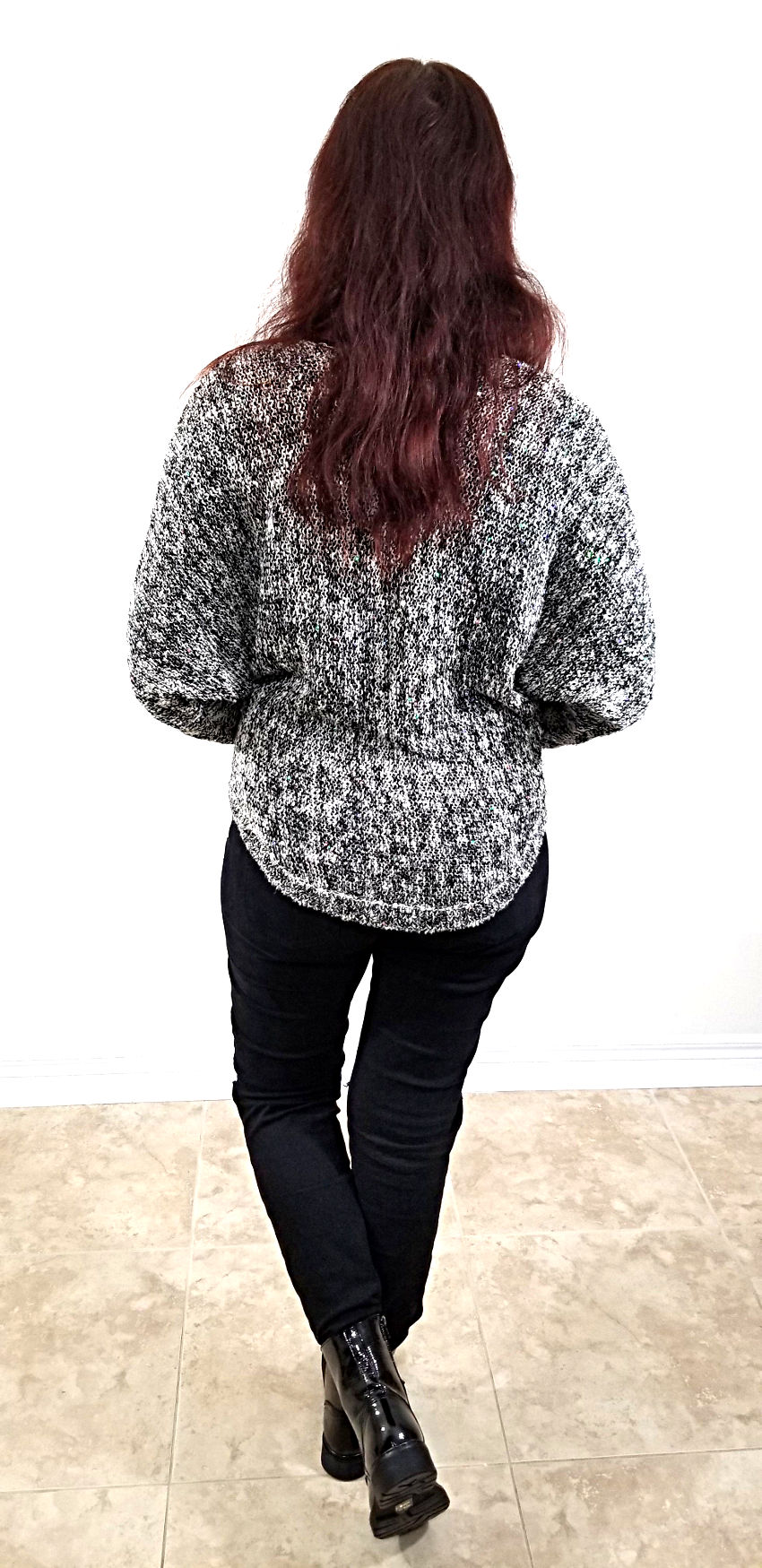 Polar Bear Style Black and White Sparkly Top Black Ripped at the Knees Jeans Patent Leather Combat Boots