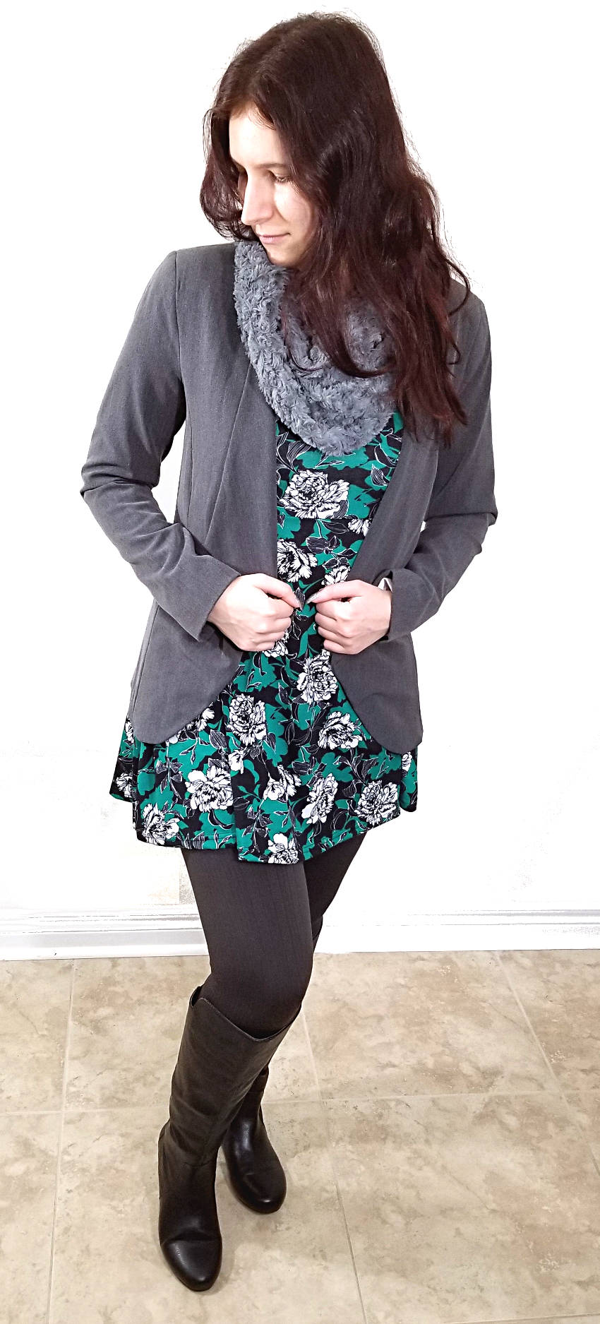 Winter Dress Green Floral Grey Scarf And Blazer Black Courtney Polar Bear Style Leggings Boots