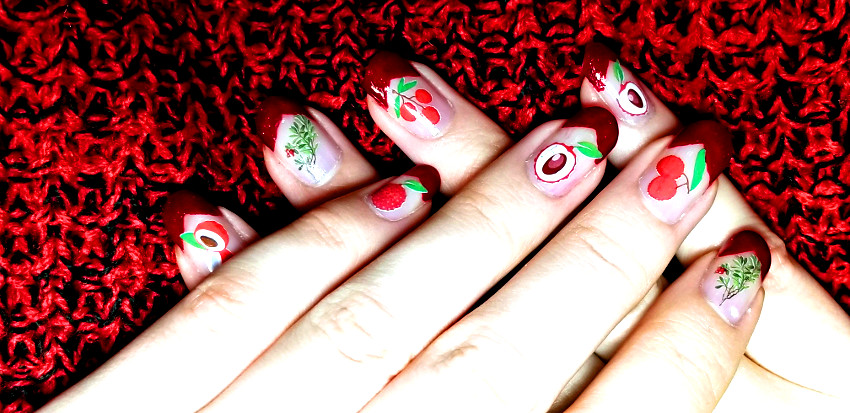Polar Bear Style Lychee Fruit Decals Sparkly Red V-Shaped French Tip Nails