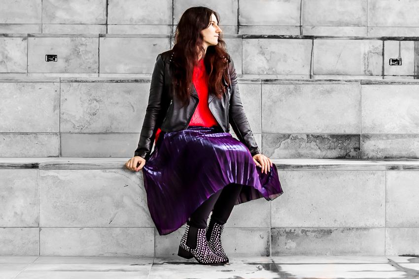d9886cc97 Polar Bear Style How - to Wear Neon: Neon Pink Sweater, Purple Pleated Skirt