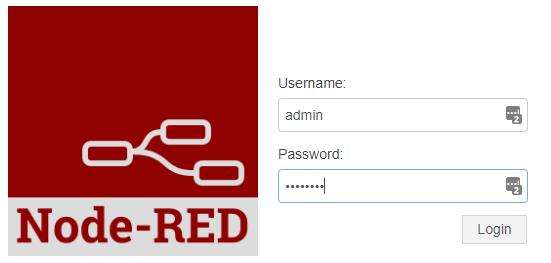 Node-Red Admin Login screen