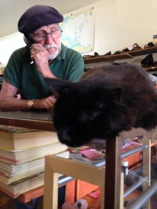 My go-to shoe repair guy at Cecil's Shoe Repair, and his cat Mr. Felix