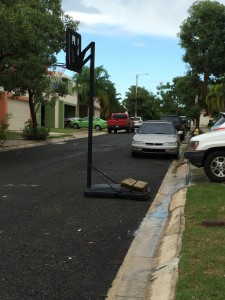 Why not put your basketball hoop in the street?