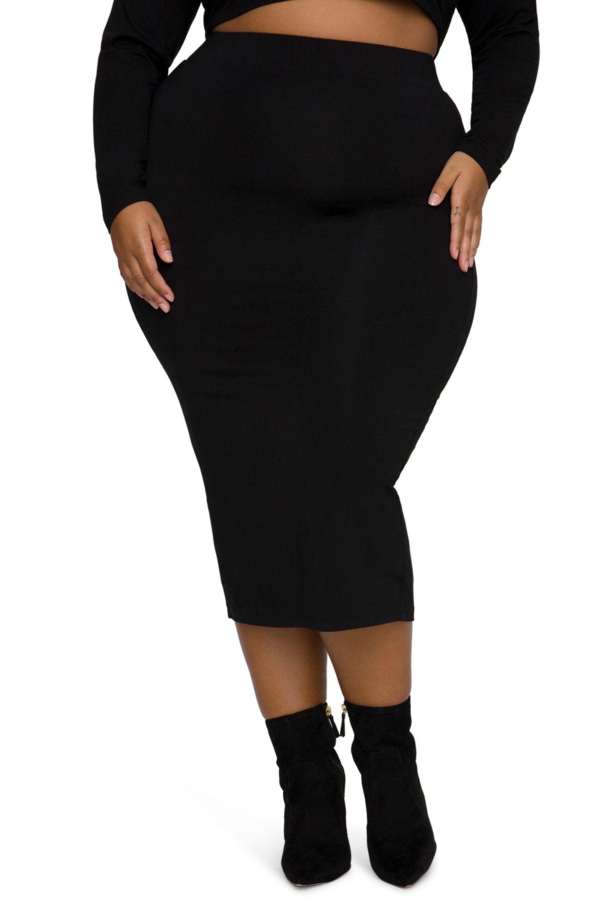 Good American Knit Midi Skirt (Plus Size)