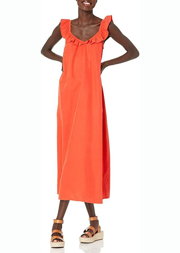 Ruffle V-Neck Maxi Dress