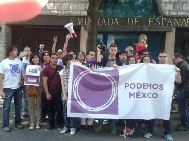 Mitin de Podemos en la Embajada de España en la Ciudad de México. Foto: Facebook de Podemos México
