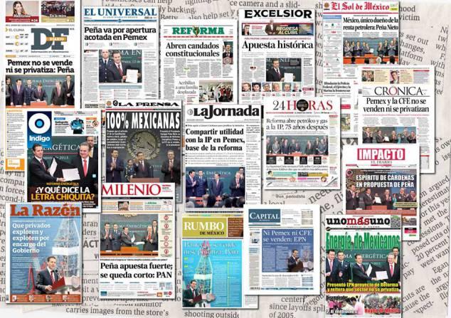 Portadas de los principales diarios en México. Foto: Internet