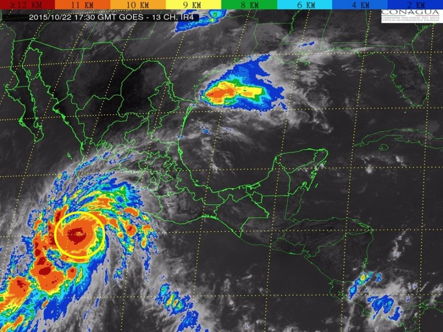 Imagen satelital del huracán Patricia. Foto: cyclocane.com