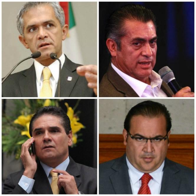 Los gobernadores de Nuevo León, Michoacán y Veracruz, y el jefe de gobierno del Distrito Federal.