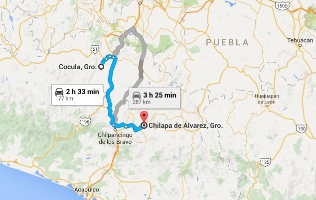 Distancia entre Chilapa y Cocula, Guerrero. Imagen de Google Maps