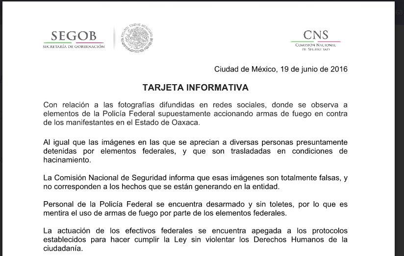 Comunicado de la Secretaría de Gobernación y la Policía Federal.