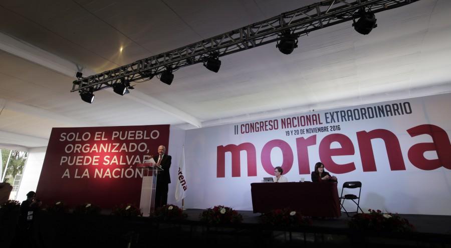 AMLO en el Congreso de Morena. Foto: Especial