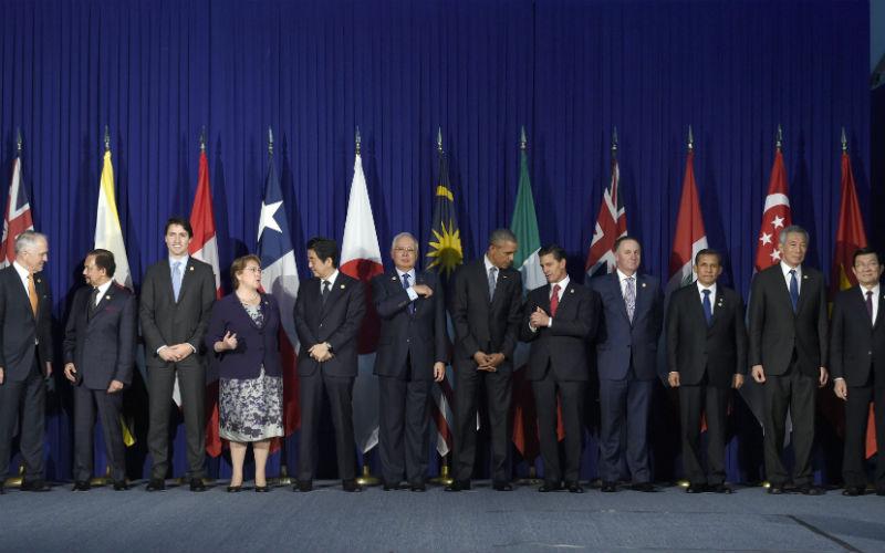 Presidentes en la firma del Acuerdo Transpacífico.