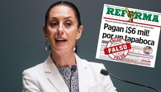"""Sheinbaum prueba que Reforma miente con """"cubrebocas"""" de 6 mil pesos"""