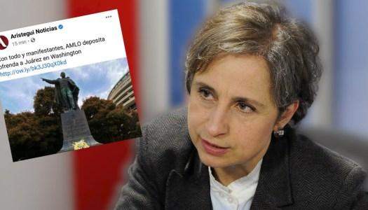 Aristegui muestra su línea editorial antiAMLO y luego se disculpa