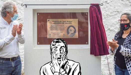 Develan placa de Marx en Xalapa y a la derecha le da una crisis nerviosa