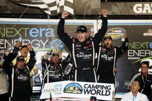 Daytona Truck Johnny Sauter Celebrates In Victory Lane