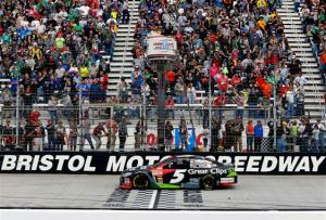 2013 Bristol March Kasey Kahne Crosses Finish Line