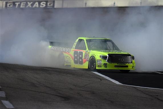 during the NASCAR Camping World Truck Series WinStar World Casino & Resort 400 at Texas Motor Speedway on June 5, 2015 in Fort Worth, Texas.