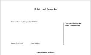Briefkopf der Anwälte Reinecke & Forst