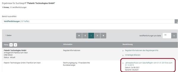 Anzeige des offengelegten Jahresabschlusses 2019 der Palantir Technologies GmbH im Unternehmensregister.de