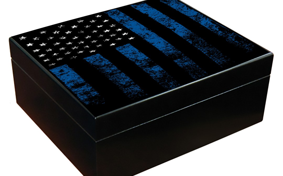 Thin Blue Line Flag Cigar Humidor